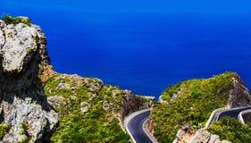Asphalt road on coast of ocean panorama Stock Photography