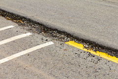 Asphalt road collapse. Royalty Free Stock Images