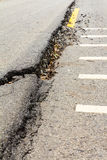 Asphalt road collapse. Royalty Free Stock Photography
