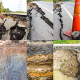 Asphalt road collapsed Stock Images