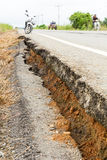 Asphalt road collapsed Royalty Free Stock Image