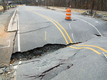 An asphalt road collapsed Stock Photo