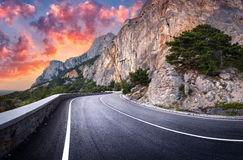 Asphalt road. Colorful landscape with beautiful winding mountain Stock Image