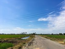 Asphalt road in country Chachoengsao Stock Images