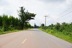Asphalt road in country Chachoengsao Thailand. Close up asphalt road in country Chachoengsao Thailand Royalty Free Stock Photography