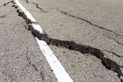 Asphalt road crack Stock Photos