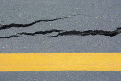 Asphalt road cracks and collapsed Stock Images