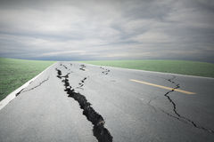 Asphalt road cracks and collapsed Stock Photos