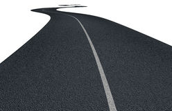 Asphalt road with curves  on white Stock Photo