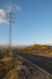 Asphalt Road dans le désert Photos libres de droits