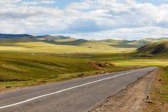Asphalt road Darkhan-Ulaanbaatar in Mongolia. Beautiful Mongolian landscape, Tuve Aymak stock image