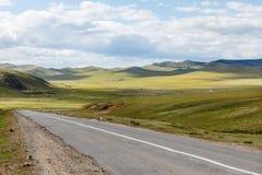 Asphalt road Darkhan-Ulaanbaatar in Mongolia. Mongolian landscape, Tuve Aymak stock photo