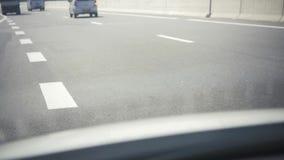 Asphalt road, detail of new traffic road. Highway in Asia stock video