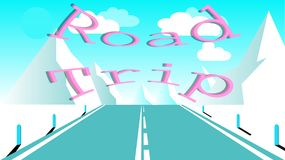 Asphalt road with a dividing strip for travel to the high rocky mountains. Journey to the mountains by car inscription road trip. An asphalt road with a dividing stock illustration