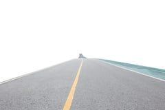 Asphalt road and exercise bike road isolated on white background Stock Photos