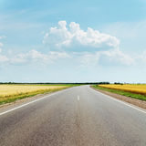 Asphalt road between fields and clouds in blue sky Royalty Free Stock Images