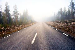 Asphalt road on foggy morning Stock Image
