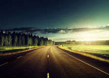 Asphalt road in forest Stock Images