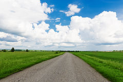 Asphalt road through the green field Stock Photo