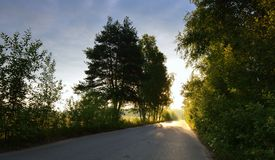 Asphalt road through green field and clouds on blue sky Stock Photography