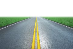 Asphalt road and the green grass field 3D rendering. Asphalt road and the green grass field with white background 3D rendering Royalty Free Stock Image