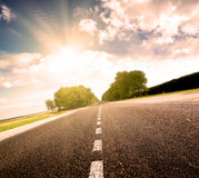 Asphalt road in green sunset meadow Royalty Free Stock Photos