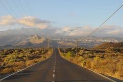 Asphalt Road i öknen Arkivfoto