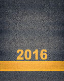 Asphalt Road Markings Showing 2016 Fotos de archivo libres de regalías
