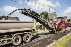 Asphalt road milling machine Royalty Free Stock Photo