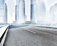 Asphalt road  modern city Stock Photo