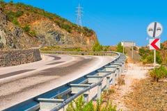 Asphalt road in a mountainous area Royalty Free Stock Photo