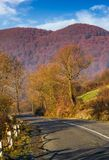 Asphalt road mountainous countryside. Beautiful autumn morning scenery Royalty Free Stock Photos