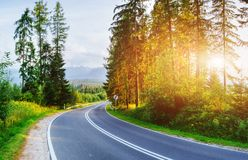 Asphalt road in mountains. The beauty of the world Royalty Free Stock Photography