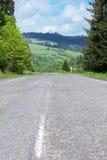 Asphalt road through mountains with fir-trees Stock Photos