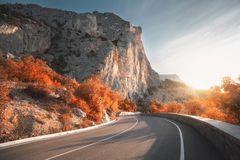 Asphalt road in mountains at sunrise in autumn Stock Photos