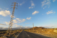 Asphalt Road nel deserto Fotografia Stock Libera da Diritti