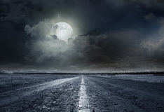 Asphalt road night Royalty Free Stock Images