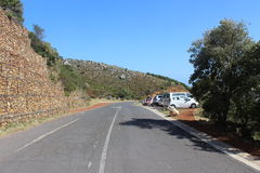 Asphalt road and parking lot just outside Table Mountain National Park outside of Cape Town, South africa Royalty Free Stock Photos