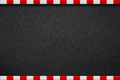 Asphalt road with red and white sign on sidewalk. Curb top view Stock Photo