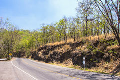 Asphalt road in rural autumn landscape. Thailand Royalty Free Stock Photography