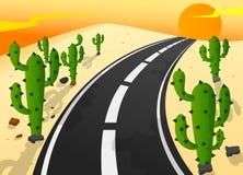 Asphalt road in sand desert with cactus landscape Royalty Free Stock Image