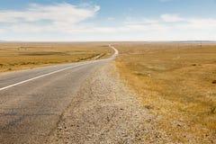 Asphalt road Sayshand-Choir in Mongolia. Beautiful landscape, Gobi Desert stock image