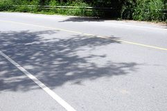 Asphalt road and shadow of trees Stock Images