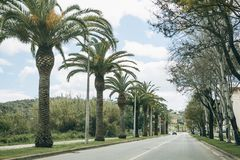 An asphalt road in a small town in the south of Portugal Stock Images