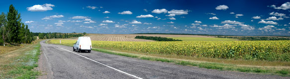 Asphalt road stretching out into the sunflower fie. Lds with blue sky and whait clouds Royalty Free Stock Image