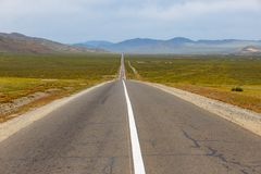 Asphalt road Sukhe Bator - Darkhan in Mongolia. Beautiful landscape stock photos