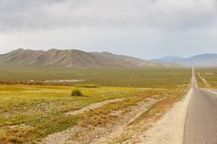 Asphalt road Sukhe Bator - Darkhan in Mongolia. Beautiful landscape royalty free stock photos