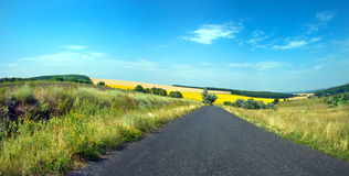 Asphalt road in summer fields in Ukrainian. And beautiful sky Royalty Free Stock Photography