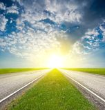Asphalt road in a sun shining Stock Photography