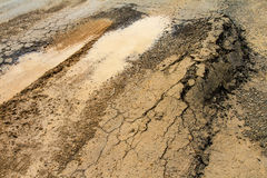 Asphalt road surface collapse Royalty Free Stock Photography